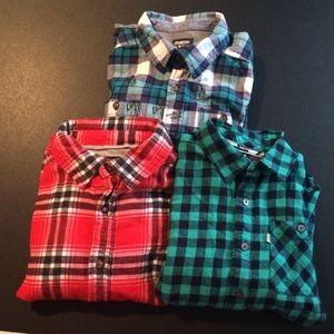 Boy's OshKosh Flannel Shirts Lot of 3 Size 10 12 M